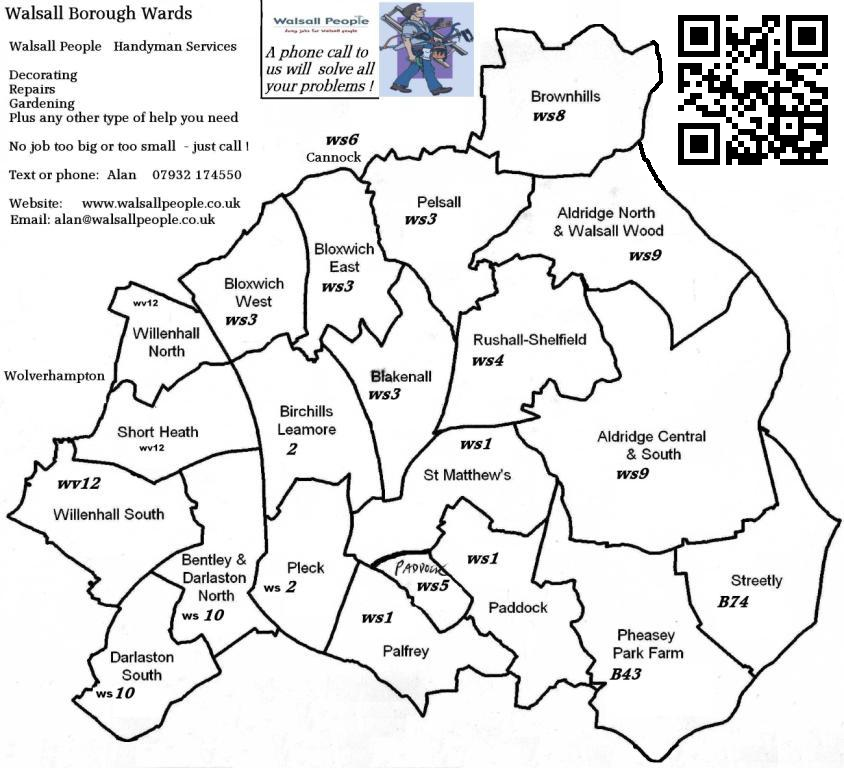 Walsall postal code and boundaries MAP by Walsall People Handy Man services